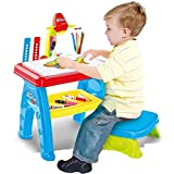 Silhouette Toys Bhoomi Multi-Function Kids Drawing Projector Desk Table With Chair - Educational Learning Table
