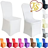 TtS 100 Chair Covers Spandex Lycra Cover Wedding Banquet Anniversary Party Decor Flat Front #03 Snow White