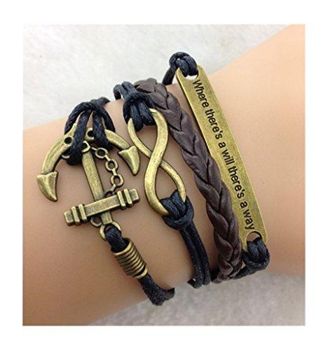 In pelle PU COSPLAZA Infinity incontro amichevole Where there is a ecco la a will way ancora speranza braccialetto