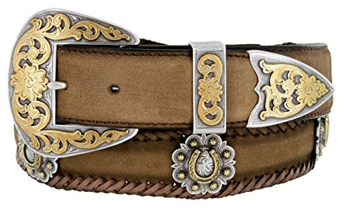 Gold Horseshoe Berry Conchos Leather Scalloped Belt Brown 38