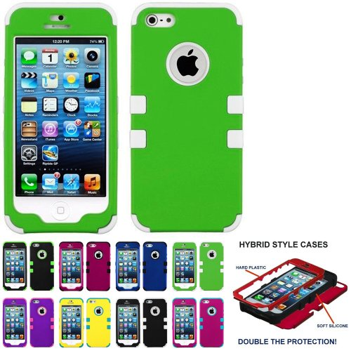 Mylife (Tm) White And Apple Green - Classic Series (Neo Hypergrip Flex Gel) 3 Piece Case For Iphone 5/5S (5G) 5Th Generation Itouch Smartphone By Apple (External 2 Piece Fitted On Hard Rubberized Plates + Internal Soft Silicone Easy Grip Bumper Gel)