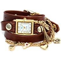 La Mer Collections - Paris Charms Brown Leather Wrap Watch