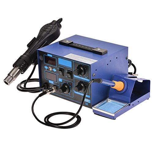Learn More About Wakrays 2in1 862D + SMD Soldering Iron Rework Station Hot Air Gun + Tip + 4 Nozzles...