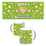 ToduGift Happy 4th wedding anniversary mug