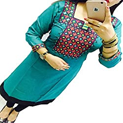ZHot Fahion Women's Embroidered semi-stitched Selfie Kurti In Georgette Fabric (ZHKRT1005_Free Size_Sea Blue)