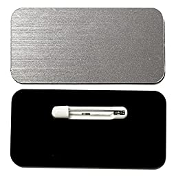 Name Tag / Badge Blanks - 10 Pack - Brushed Silver 1-1/2\