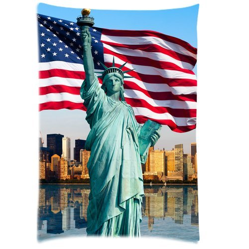 Butuku Customized Statue Of Liberty With American Flag Rectangle Soft Pillow Case Standard Size 20X30 front-817079