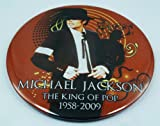 "THE UNIQUE 3-IN-1 PIN BADGE, MICHAEL JACKSON, KING OF POP, MJ (#6) EXTRA LARGE XXL SIZE 3.75"", 95 mm. Diameter Round, Stand & Pinback"