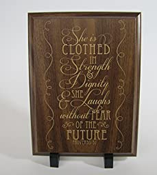 Dayspring Milestones She Is Clothed in Strength & Dignity, and She Laughs Without Fear of the Future. Proverbs 31:25 Wall Decor plaque (Cherry)