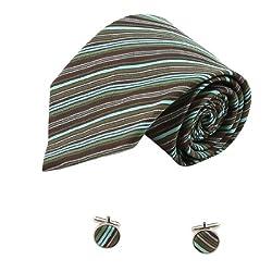 Green Stripes Mens Ties Green Birthday Gifts Man Fashion Silk Cufflinks 1164