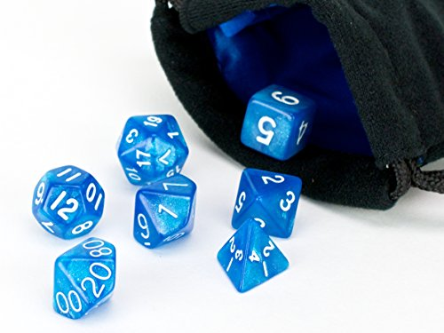 Blue Frost 7 Piece Polyhedral Dice Set | PRISTINE Edition | FREE Carrying Bag | Hand Checked Quality With | Money Back Guarantee