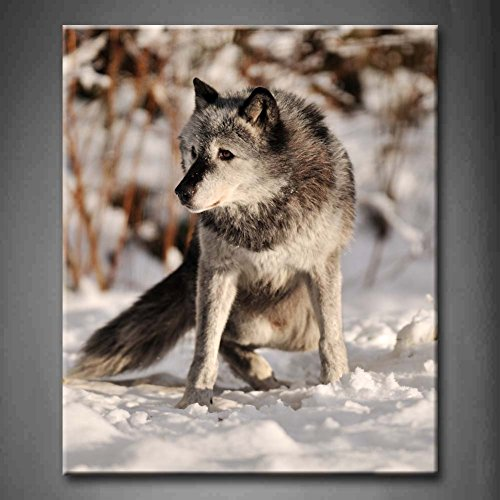 Grey Timber Wolf In Snow Snowfield Wall Art Painting The Picture Print On Canvas Animal Pictures For Home Decor Decoration Gift (Stretched By Wooden Frame,Ready To Hang)