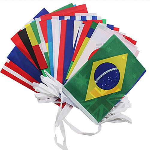 G2PLUS® 36 Feet World Cup Top 32 String Flag Banners International Flag Bunting 8'' x 12'' for Bar Party Decorations (GG59001)