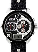 Comprar Alienwork DualTime Reloj Digital- Analógico Multi-función LCD XXL Oversized Piel de vaca negro negro OS.WH-2305-3