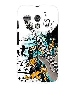Fuson 3D Printed Guitar Designer Back Case Cover for Motorola Moto G - D849