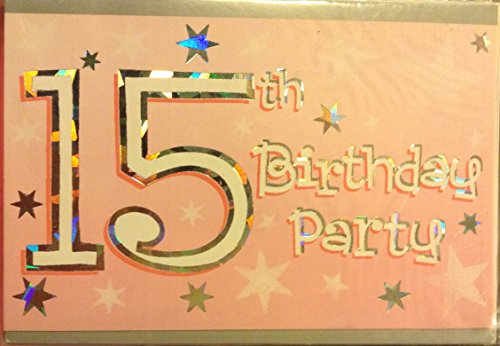 15th Birthday Party Pink & Silver Invitations Set of 8 with envelopes - 1