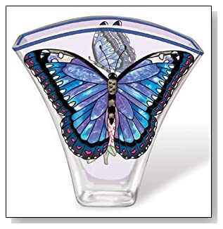 Amia 5624 Whispering Wings Vase, Blue Morpho Butterfly Design, 6-Inch W by 2-Inch L by 5-3/4-Inch H