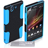 Yousave Accessories Tough Mesh Combo Silicone Cover Case for Sony Xperia Z - Black/Blue