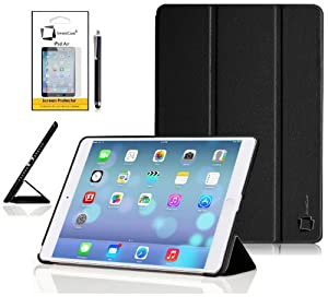 New Apple iPad Air 2013 (iPad 5th Generation) With Retina Display (ALL Model Versions) BLACK Multi-Function SMART FOLIO Front & Back Case / Smart Cover / Typing & Viewing Stand / Premium SLIM Flip Case With Magnetic Sleep Sensor & Screen Protector Shield Guard & iPad Air Black Stylus Pen Accessory Accessories Pack by InventCase®
