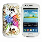 Yakamoz Flexible Pretty Colorful Butterfly Design Silicone Gel Case Cover for Samsung Galaxy S III Mini I8190 with Free Screen Protector (Colorful Butterfly)