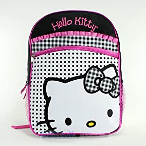 "16"" Sanrio Hello Kitty White and Plaid Backpack-tote-bag-school"
