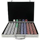 Trademark Poker 1000 11.5-Gram Dice-Striped Chips in Aluminum Case