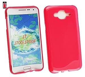 Emartbuy® Shiny Gloss Gel Skin Case Cover Pink Plain Samsung Galaxy J7