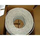 VideoSecu 500ft CAT5e Cable 4 Pair 24 AWG UTP WT Pure Copper Ethernet Network Wire WL5 (Color: White, Tamaño: 500 feet)