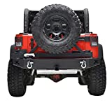 "Restyling Factory Black Jeep Wrangler JK Rear Bumper with Tire Carrier and 2"" Hitch Receiver JK Jeep"