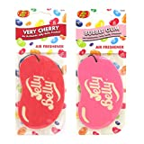 JELLY BELLY TWIN PACK 2D BEAN SWEETS SCENT CAR AIR FRESHENER - VERY CHERRY + BUBBLE GUM