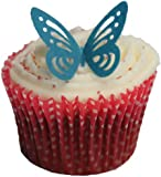 Toppercake Edible Wafer Butterfly Cup Cake Decorations Royal Blue