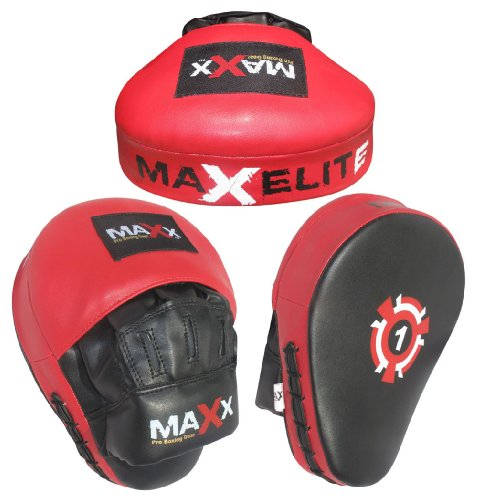 Curved rex leather Black/Red Focus pads , Hook & Jab Pads with Gloves
