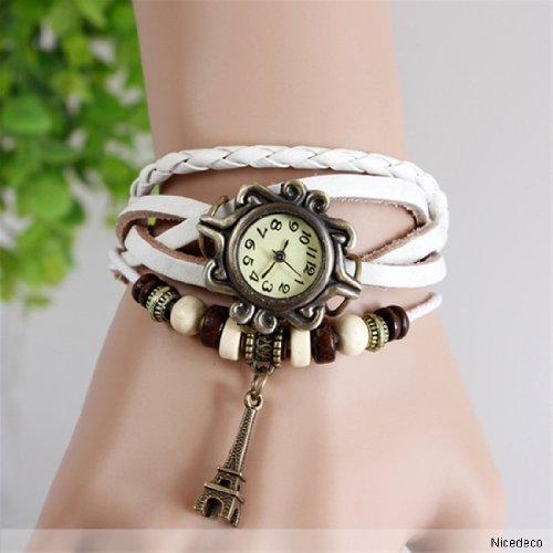 Nicedeco - White,Fashion Accessories Trial Order Quartz Weave Wrap Around Leather Bracelet Lady Woman Wrist Watch,Eiffel Tower Pendant