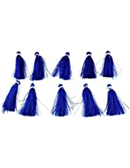 "Sumit 10 Pcs Beautiful Blue Color Silk Tassel Beautiful Necklace Making Link 2"" Long Tassel,Beautiful Earring..."