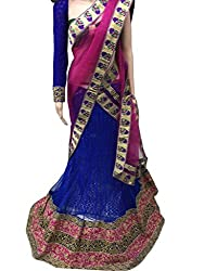 Suchi Fashion Blue Heavy Embroidered Net Semistitched Party Wear Lehenga Choli