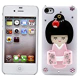 NUC@3D Japanese Girl in Pink Kimono Bling Crystal Case for Iphone 4 & 4s