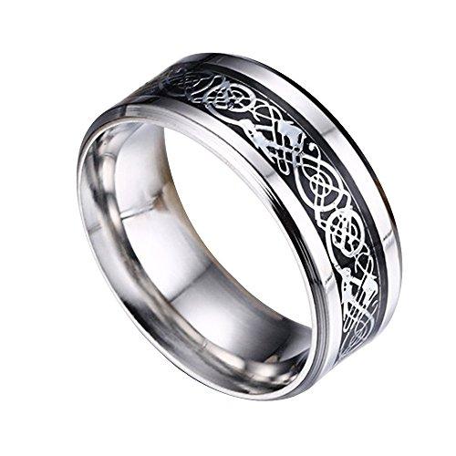 Contever® Acciaio Inossidabile Celtico Anello Con Modello Drago Intarsiato Per Anniversario / Impegno / Wedding Band Colore Argento - Dimensione 8 #