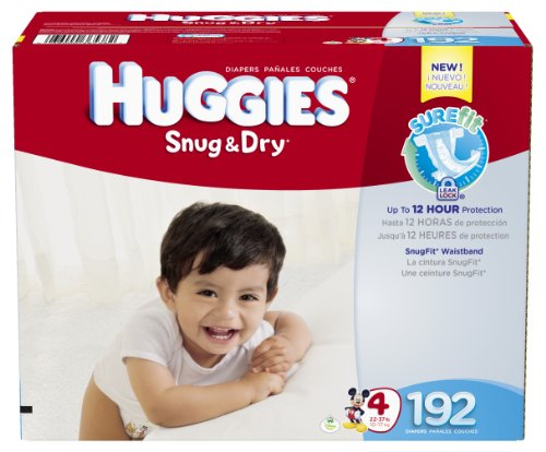 Huggies Snug and Dry Diapers, Size 4, Economy Plus Pack, 192 Count Picture