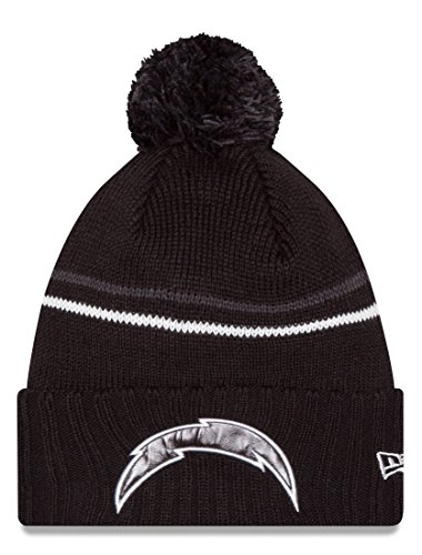san-diego-chargers-new-era-nfl-logo-crisp-cuffed-knit-hat-with-pom-black