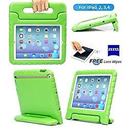 iPad 2/3/4 Case - Travellor® Kids Light Weight Kido Series Multi Function Convertible Handle Kickstand Kids Friendly Protective Shockproof Cover with Stand & Handle for Apple iPad 2/3/4 (Green)