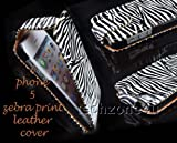 BLACK AND WHITE ZEBRA PRINT LEATHER FLIP CASE COVER POUCH FOR APPLE IPHONE 5
