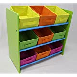 eHemco 3 Tier Storage Unit with 9 Removable Fabric Bins