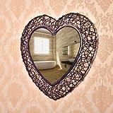 QIKOU haute précision Belle chambre en fer forgé européenne miroir de salle de bains picture frame vanité miroir cosmétique coeur créatif en forme de miroir mural salle de bains miroir décoratif , violet Commode haute qualité...