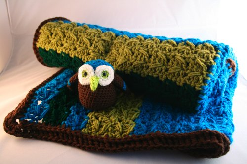 Crochet Pattern, baby blanket and amigurumi owl soft toy (Baby Blankets)