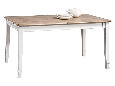 Weißer Esstisch 150x88 cm Eiche teilmassiv, Ausziehbar auf 285, Farbe: Weiß