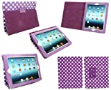 Emartbuy New Apple Ipad 3 & Apple Ipad 2 Multifunctional / Multi Angle Wallet / Cover / Stand / Typing Case With Magnetic Sleep Wake Sensor Polka Dots Purple / White (All versions Wi-Fi and Wi-Fi + 3G/4G - 16GB 32GB 64GB)
