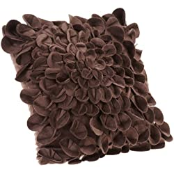 Brentwood Starburt Petals 16-Inch Pillow, Brown