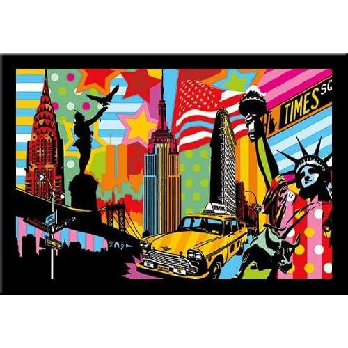 Amazon.com: 'NEW YORK TAXI I' City pop art FRAMED PRINT - Lobo 28x40