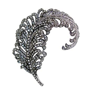 "TTjewelry 3.18"" Vintage Peacock Feather Rhinestone Crystal Brooch Pin Party Jewelry"