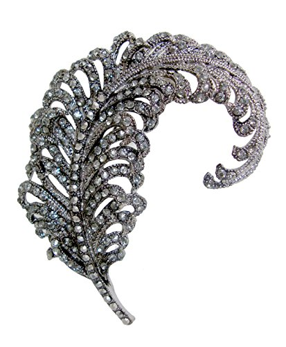 "TTjewelry 3.18"" Vintage Peacock Feather Rhinestone Crystal Brooch Pin Party Jewelry 0"